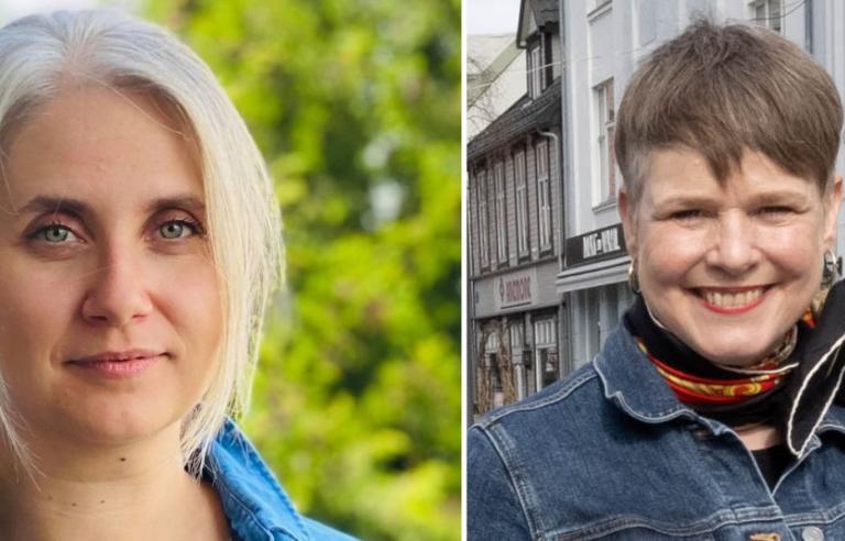 Maja Sojtaric og Ragnheidur Skuladottir diskuterer årets musikkprogram. Collage: privat/Harstad Tidende