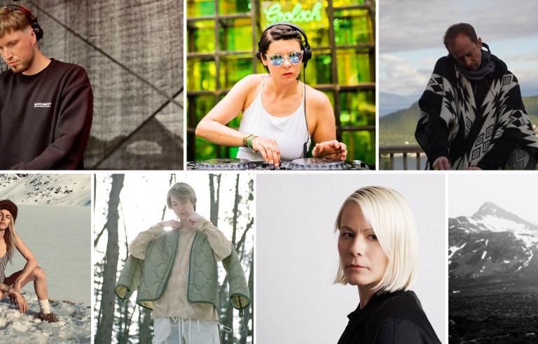 Nordic Frequency med Fred Lundi, Charlotte Bendix, Piljar, Karolinski, Niilas, Vibeke Bruff og Waveform spiller på Festspillene i Nord-Norge 2021. Foto: collage