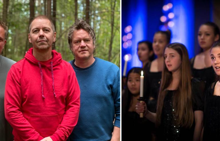 Georg Buljo Trio og Det Norske Jentekor presenterer urpremieren av OKTAN på Festspillene i Nord-Norge 2021. Foto: collage